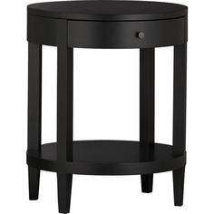 "LaSalle Round Nightstand in Nightstands | Crate and Barrel black satin laquer 20"" dia. 25""h"
