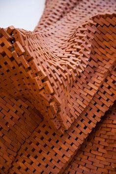 "Noor Ali Chagani, ""Life Line"" (detail) Terracotta bricks, nylon wires… Brick Architecture, Architecture Details, Interior Architecture, Road Texture, Brick Texture, Brick Masonry, Brick Facade, Brick In The Wall, Brick And Stone"