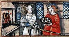 Husband and wife bakers in front of their oven, early 16th century