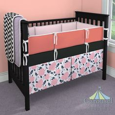 Crib bedding in Solid Lilac, Black and White Zig Zag, Solid Black Minky, Solid Pink Minky, Solid Coral, Coral Pink and Navy Floral. Created using the Nursery Designer® by Carousel Designs where you mix and match from hundreds of fabrics to create your own unique baby bedding. #carouseldesigns
