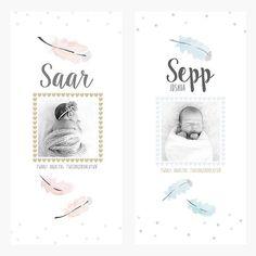 #geboortekaartje #baby #jongen #meisje #watercolor #boho #birthannoucement #veertjes #feathers info@zojoann.nl