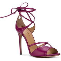 Aquazzura Nathalie 105 sandals (3.205 RON) ❤ liked on Polyvore featuring shoes, sandals, evening shoes, leather strap sandals, leather high heel sandals, pink shoes and pink high heel shoes