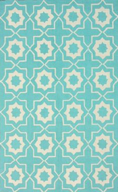 Rugs USA Homespun Parva Trellis Lt Turquoise Rug. but a Review  says it sheds. Have to vacuum a lot at first