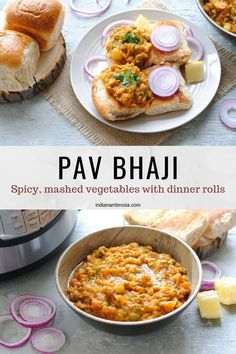 Mumbai pav bhaji is a very popular Indian street food. Made with mixed vegetables, butter and spices, it is out-of-this world delish and totally addictive! Indian Potato Recipes, Veggie Recipes, Indian Food Recipes, Vegetarian Recipes, Veggie Food, Rice Recipes, Easy Recipes, Snack Recipes, Bhaji Recipe