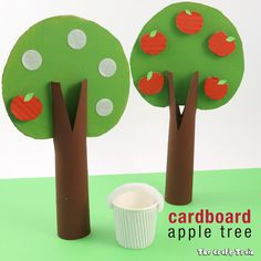 Cardboard apple tree: make an apple tree with removable apples that can be 'picked' from recycled cardboard.