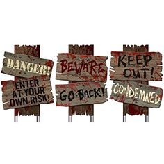 "Set of 3- Halloween Cemetery Sidewalk Signs- ""Beware Go Back"", ""Keep Out! Condemned"", Danger! Enter At Your Own Risk!""-12"" X 9"" Amscan http://www.amazon.com/dp/B012H281B8/ref=cm_sw_r_pi_dp_3tE9vb0ZHQG98"