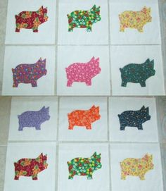 Set of 12 Colorful Scrappy Pig  6 x 6  Cotton by MarsyesShoppe