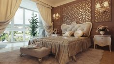 Bedroom:Retro Brown Themed Bedroom With Padded Headboard And Dressy Floral Wall Decoration Also Lovable Leather Couch Soothing Bedroom Ideas With Neutral Color Scheme Neutral Bedroom Colors Neutral Bedroom Romantic Bedroom Traditional Bedroom Design, Interior Design Bedroom, Bedroom Vintage, Bed Design, Vintage Bedroom Sets, Home Decor, Beautiful Bed Designs, Luxurious Bedrooms, Soothing Bedroom