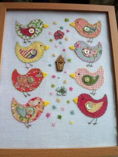 Bright and Colourful Applique and Hand-embroidered Birdie Picture.Love and Buttons.Folksy. £20.00