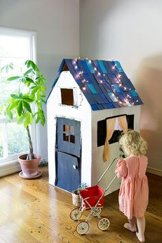 30+ Fun Ways To Repurpose Cardboard For Kids---DIY Cardboard Playhouse From a Box