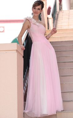 One Shoulder Floral Long Pink Prom Gown