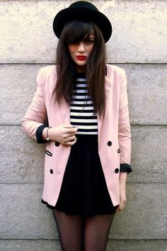 Black-rokit-hat-bubble-gum-romwe-blazer-black-american-apparel-skirt_400