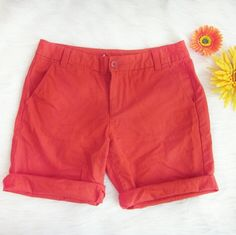 """GAP boyfriend roll up shorts Tomato red. Excellent condition! No signs of wear! 100% cotton. Waist laid flat 15"""". Rise 8.5 inches. Inseam 9 inches.  Bundle for best deals! Hundreds of items available for discounted bundles! You can get lots of items for a low price and one shipping fee!  Follow on IG: @the.junk.drawer GAP Shorts"""
