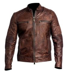 premium selection 71666 08f74 Mens Biker Vintage Motorcycle Cafe Racer Brown Distressed Leather Jacket   eBay