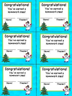 A Teacher's Treasure: Holiday Homework Pass & Students' Gifts ...