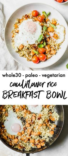 Recipes Breakfast Bowls A quick and healthy breakfast bowl made with cauliflower rice and topped with tomatoes, sweet potato and a fried egg. It's both filling and delicious Breakfast Meat, Whole 30 Breakfast, Sweet Potato Breakfast, Breakfast Bowls, Healthy Breakfast Recipes, Paleo Recipes, Morning Breakfast, Mexican Breakfast, Breakfast Potatoes