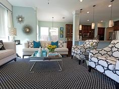 Black, White and Powder Blue by Abbe Fenimore - 20 Living Room Color Palettes You've Never Tried  on HGTV by Jeanine Hays