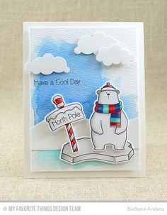 Cool Day Stamp Set and Die-namics, Snow Drifts Die-namics, Puffy Clouds Die-namics - Barbara Anders  #mftstamps