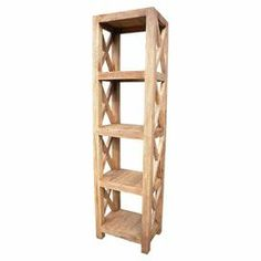 """Handcrafted from teak wood, this rustic-finished display shelf showcases openwork sides and offers 4 tiers for stacking books and highlighting decor.   Product: Display shelfConstruction Material: Teak woodColor: NaturalFeatures: HandcraftedDimensions: 75"""" H x 20"""" W x 14"""" D"""