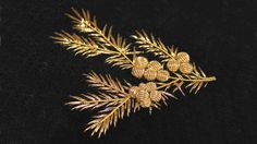 gold pinecones embroidery