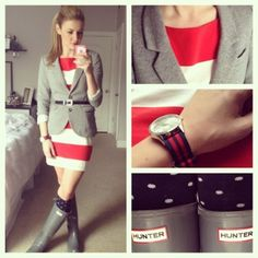 Turn this into a work outfit by negating the rain boots and adding a soft brown colored boot.