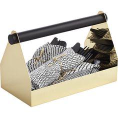 handy gold caddy in storage accessories | CB2