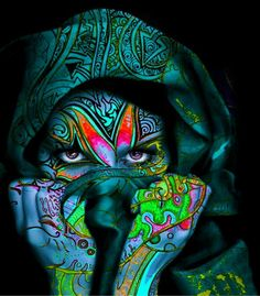 psytrance art Love the colours in this picture all the blsck anfd flour. Might looked nice matched with the other two pictures I have wrote in for colour palette