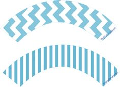 FREE / Snow Man Cupcake Wrappers /  Blue Stripe and Blue Chevron