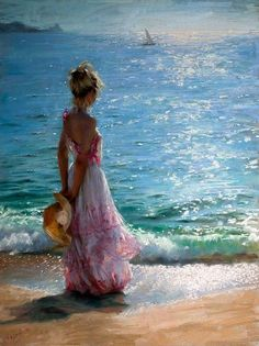 Vicente Romero Redondo walk on the beach x painting is shipped worldwide,including stretched canvas and framed art.This Vicente Romero Redondo walk on the beach x painting is available at custom size. Paintings I Love, Beautiful Paintings, Art Paintings, Beach Paintings, Art Amour, Wow Art, Fine Art, Belle Photo, Painting Inspiration