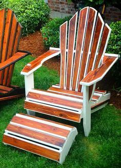It's a good thing that so many plastic patio chairs are designed to stack, and the aluminum ones fold up flat. These Adirondack chair plans will help you build an outdoor furniture set that becomes the centerpiece of your backyard Easy Woodworking Projects, Woodworking Furniture, Furniture Plans, Rustic Furniture, Woodworking Kids, Furniture Market, Farmhouse Furniture, Furniture Companies, Luxury Furniture