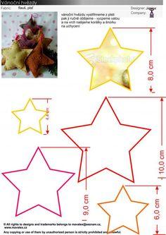 návod na hvězdu, vánoční aplikace, jak ušití vánoční ozdoby ... Dyi Decorations, Felt Diy, Homemade Crafts, Stuffed Toys Patterns, Craft Gifts, Sewing Patterns, Crafts For Kids, Diy Projects, Templates