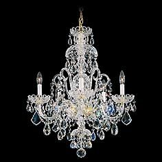 "Slender candelabra fixtures illuminate this classic crystal chandelier by Schonbek. 28"" high x 22"" wide x hang weight of 21 lbs. Includes 40"" of chain, 122"" of wire. Style # 38488 at Lamps Plus."