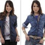 camisas jeans feminina com acessorios