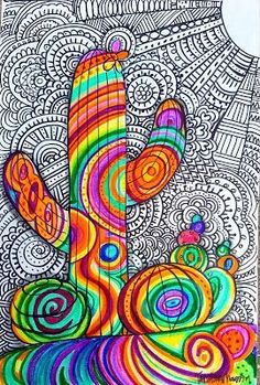 The Lost Sock : Psychedelic succulents Trippy Drawings, Psychedelic Drawings, Art Drawings, Art And Illustration, Dibujos Zentangle Art, 6th Grade Art, Desert Art, Sad Art, Southwest Art