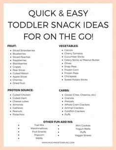 Healthy Meals For Kids Toddler Snack Ideas: Quick Easy Combinations For Picky Eaters - Quick and Easy Toddler Snack Ideas for the Little Picky Eaters in Your Life! A few foolproof ideas and an awesome reusable snack and drink container. Easy Toddler Snacks, Toddler Menu, Healthy Toddler Meals, Kids Meals, Toddler Food, Toddler Dinners, Kid Snacks, Daycare Meals, Toddler Daycare
