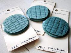 Lot of 3 HUGE Vintage Buttons  Large  Blue  by catROCKSvintage