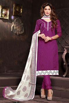 Wonderful Purple Color Party Wear Cotton Suit