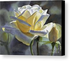 Roses Canvas Print featuring the painting Hint Of Gold by Sharon Freeman