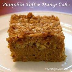 AUTUMN DESSERT: Pumpkin Toffee Dump Cake recipe      What a great fall dessert recipe.......going to try this one!