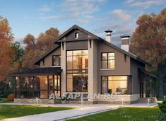 "673E ""Регата"" - комфортный дом с двускатной крышей. Площадь 160 м2. Alfaplan.ru New Home Designs, Home Design Plans, Interior Design Living Room Warm, Sims House Plans, House Landscape, Facade Design, Facade House, Modern House Design, Design Case"