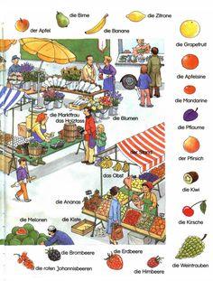 At the Market Study German, German English, German Grammar, German Words, German Resources, Deutsch Language, Germany Language, Nouns And Verbs, German Language Learning