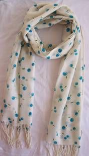 Pure wool printed  blue cherries
