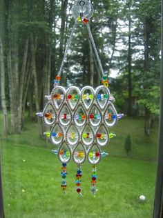 """HANDCRAFTED """"WHITE STYLE SUNCATCHER"""" IN PLASTIC CANVAS"""