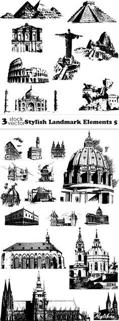 Черно-белые рисунки - достопримечательности разных стран вектор Vectors, Stylish, City, Pictures, Travel, Character, Book, Crowns, House