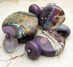 SRA Lampwork Glass Bead Set Purple by StoneDesignsbySheila on Etsy, $60.00