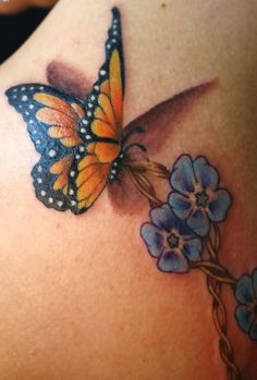 Monarch Butterfly With Flowers Tattoos