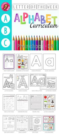 Letter of the Week Preschool Curriculum Page Alphabet Curriculum. No Prep Letter of the Week Preschool and Alphabet Binder. Worksheets, Games, Math and more for 3 or 4 day a week schedule. Preschool Letters, Letter Activities, Preschool At Home, Preschool Lessons, Learning Letters, Preschool Kindergarten, Kids Learning, Home Preschool Schedule, Letter Games