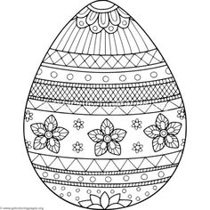 Flower Decorated Easter Egg Coloring Pages Easter Egg Coloring Pages, Alphabet Coloring Pages, Coloring Book Pages, Easter Art, Easter Crafts, Easter Egg Designs, Easter Colors, Papercutting, 5 Years