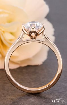 Classic Rose Gold Tulip Solitaire Engagement Ring. Green Lake Jewelry 114892