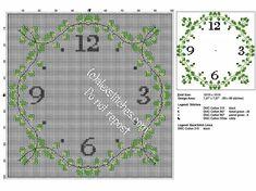Kitchen square clock 101 x 101 free cross stitch pattern with ivy